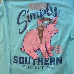 Simply Southern LS Tee pig w/goggles mason jar NWT